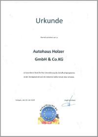 Authaus Holzer, Korntal - Urkunde Schulfruchprogramm