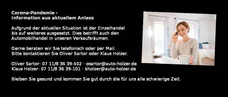 Autohaus Holzer Stuttgart-Korntal: Verkauf während Corona